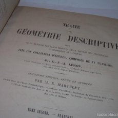 Libros antiguos: LIBRO TAPAS DE PIEL....GEOMETRIE DESCRIPTIVE....AÑO 1.885....CON LAMINAS Y DESPLEGABLES.. Lote 56823768