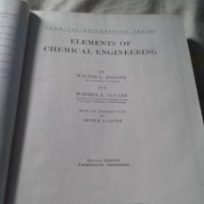 Libros antiguos: ELEMENTS OF CHEMICAL ENGINEERING - INGENIERIA QUIMICA - BADGER - MC CABE - 1936. Lote 57288292