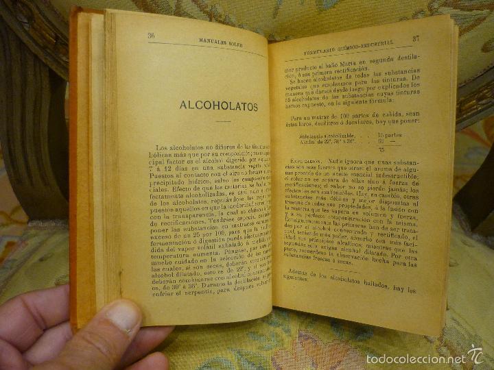 Libros antiguos: FORMULARIO QUÍMICO-INDUSTRIAL, DE PORFIRIO TRÍAS Y PLANES. MANUALES SOLER Nº XXXVII. - Foto 4 - 57509639