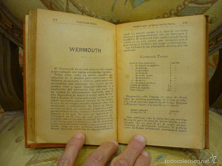 Libros antiguos: FORMULARIO QUÍMICO-INDUSTRIAL, DE PORFIRIO TRÍAS Y PLANES. MANUALES SOLER Nº XXXVII. - Foto 5 - 57509639