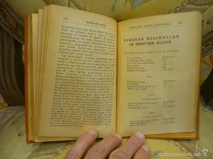 Libros antiguos: FORMULARIO QUÍMICO-INDUSTRIAL, DE PORFIRIO TRÍAS Y PLANES. MANUALES SOLER Nº XXXVII. - Foto 6 - 57509639