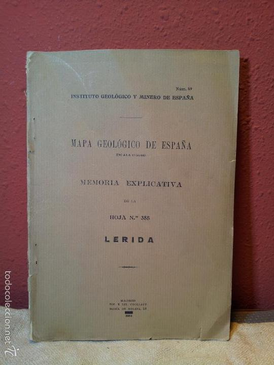 LERIDA ,MEMORIA EXPLICATIVA DE LA HOJA Nº 388,MAPA GEOLOGICO, 1934 (Libros Antiguos, Raros y Curiosos - Ciencias, Manuales y Oficios - Paleontología y Geología)
