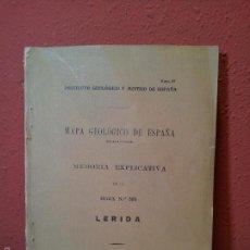 Libros antiguos: LERIDA ,MEMORIA EXPLICATIVA DE LA HOJA Nº 388,MAPA GEOLOGICO, 1934 . Lote 57522710