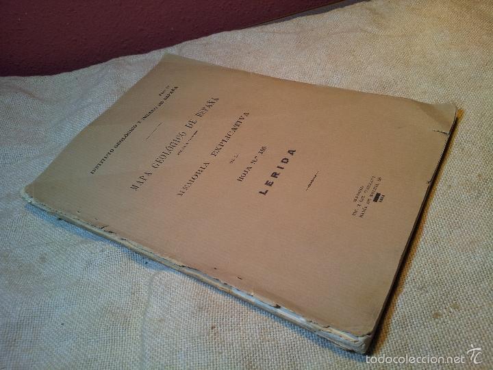 Libros antiguos: LERIDA ,memoria explicativa de la hoja nº 388,mapa geologico, 1934 - Foto 6 - 57522710