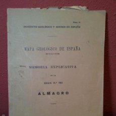 Libros antiguos: ALMAGRO ,MEMORIA EXPLICATIVA DE LA HOJA Nº 785,MAPA GEOLOGICO, 1935. Lote 57522768