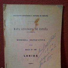 Libros antiguos: LERIDA,MEMORIA EXPLICATIVA DE LA HOJA Nº 388 ,MAPA GEOLOGICO, 1933 . Lote 57522804