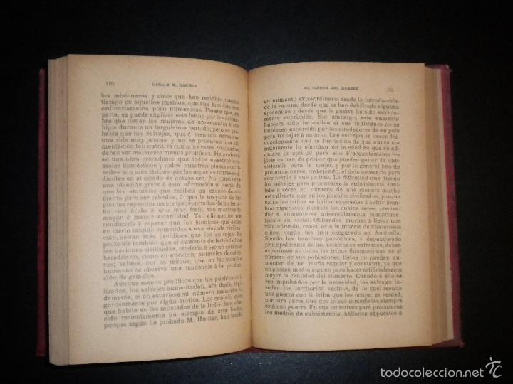 Libros antiguos: el origen del hombre / darwin / s/f circa 1910 / sempere y compañia - Foto 3 - 57972375