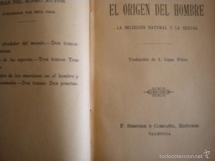 Libros antiguos: el origen del hombre / darwin / s/f circa 1910 / sempere y compañia - Foto 4 - 57972375