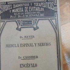 Libros antiguos: DR. MEYER -MEDULA ESPINAL Y NERVIOS -ENCEFALO-1921. Lote 58210134