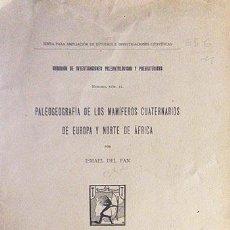 Libros antiguos: ISMAEL DEL PAN: PALEOGEOGRAFÍA DE LOS MAMÍFEROS CUATERNARIOS DE EUROPA Y NORTE DE ÁFRICA. (M. 1918 . Lote 58216600