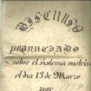 Libros antiguos: 2347.- PESOS Y MEDIDADS-SISTEMA METRICO -DISCURSO PRONUNCIADO EN 1859 POR JOSE FERRER. Lote 58469524