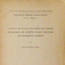 Libros antiguos: GRUPO DE SUSTITUCIONES QUE DEJAN INVARIABLE UN RECINTO PLANO CIRCULAR MÚLTIPLEMENTE CONEXO (1918) . Lote 61334059