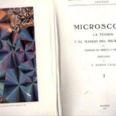 Libros antiguos: ORUETA Y DUARTE : MICROSCOPIA TOMO I - TEORÍA Y MANEJO DEL MICROSCOPIO (1923) PRÓLOGO RAMÓN Y CAJAL. Lote 61420255