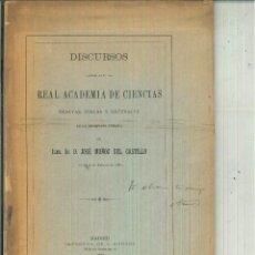 Libros antiguos: DISCURSOS LEÍDOS ANTE LA REAL ACADEMIA ESPAÑOLA DE CIENCIAS EXACTAS, FÍSICAS Y NATURALES. J. MUÑOZ. Lote 62006684