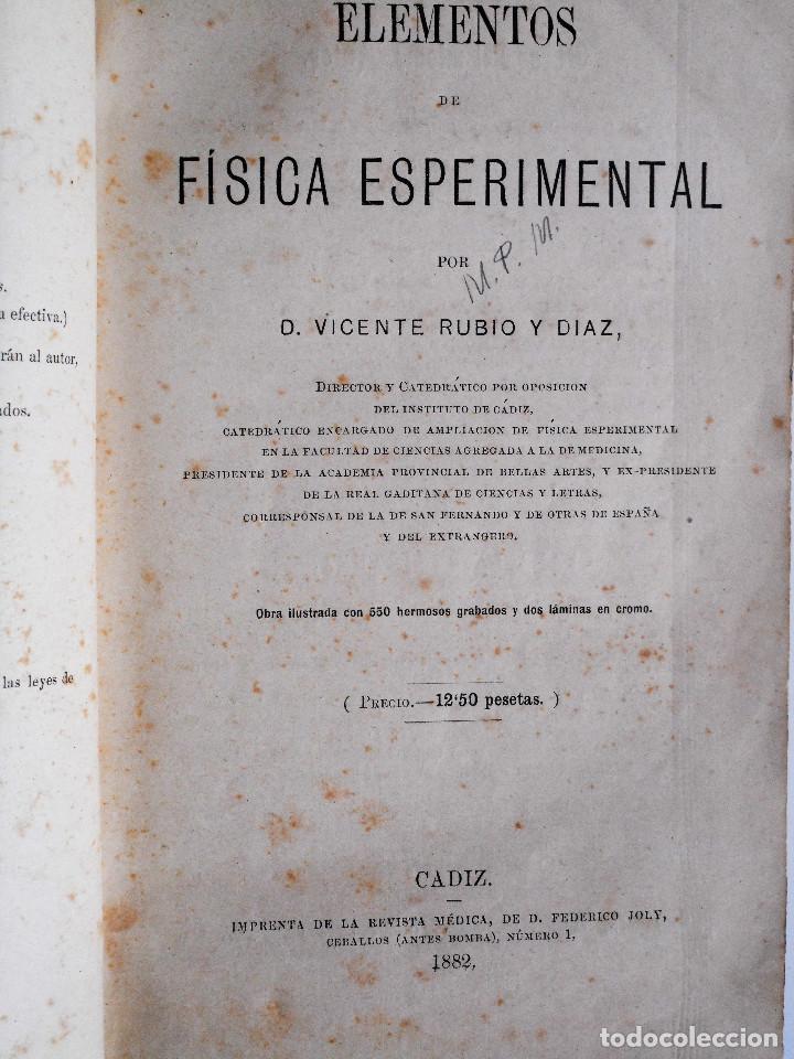 Libros antiguos: ELEMENTOS DE FÍSICA ESPEREMIENTAL – D. VICENTE RUBIO Y DIAZ – CADIZ AÑO 1882 - Foto 4 - 65074651