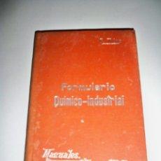 Libros antiguos: MANUALES SOLER FORMULARIO QUIMICO INDUSTRIAL. Lote 67610001