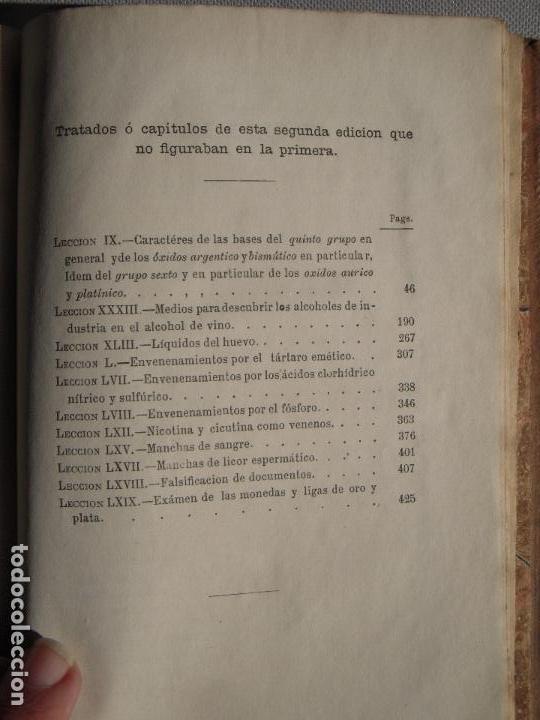 Libros antiguos: ANALISIS QUIMICO DE APLICACION A LAS CIENCIAS MEDICAS - VICENTE MUNNER Y VALLS - BARCELONA, 1873 - Foto 4 - 68909297