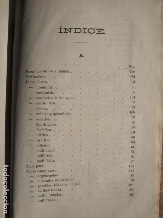 Libros antiguos: ANALISIS QUIMICO DE APLICACION A LAS CIENCIAS MEDICAS - VICENTE MUNNER Y VALLS - BARCELONA, 1873 - Foto 5 - 68909297