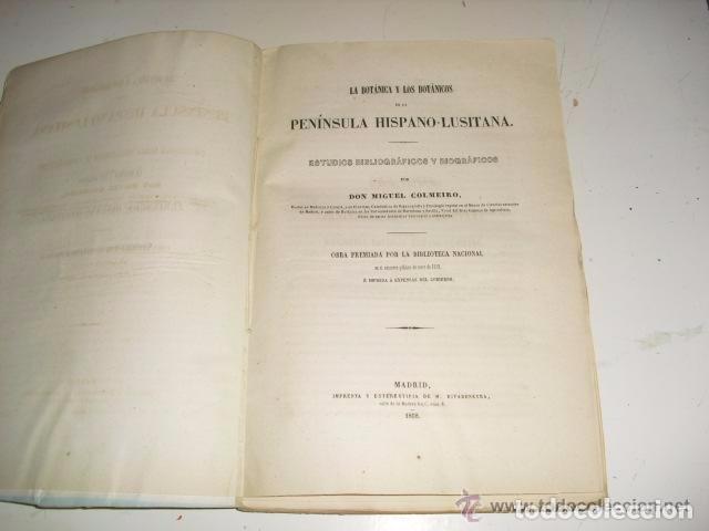 Libros antiguos: LA BOTÁNICA Y LOS BOTÁNICOS DE LA PENÍNSULA HISPANO-LUSITANA AÑO 1858 MIGUEL COLMEIRO 1ª EDICIÓN - Foto 2 - 71761563