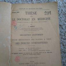 Libros antiguos: DESCRIPCIÓN ANATÓMICA Y ESTUDIO HIDROLÓGICO GLANDULAS VENENOSAS INSECTOS HIMENÓPTEROS. L.BORDAS.1897. Lote 72353657