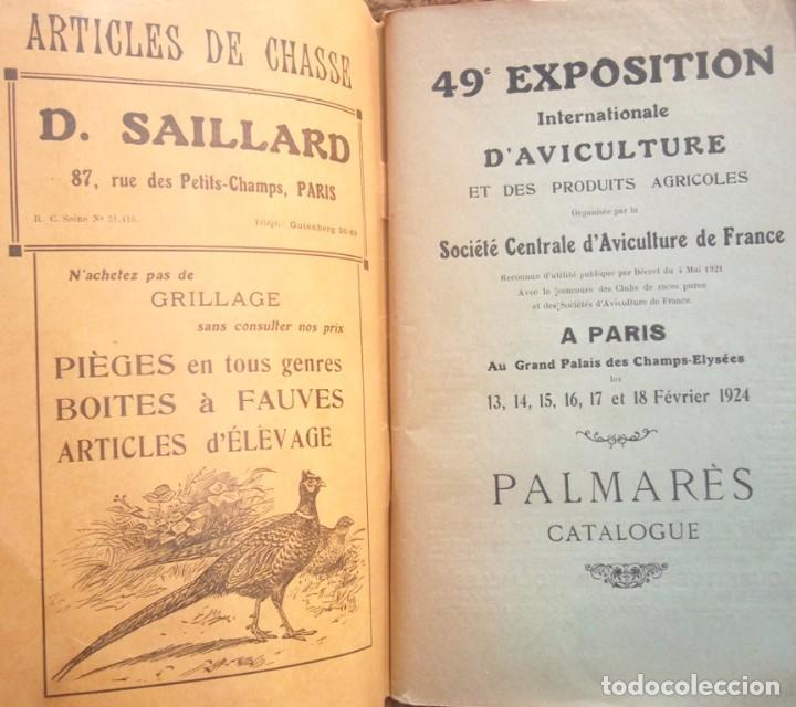 Libros antiguos: 49e Exposition Internationale d'Aviculture a Paris 1924 Palmarès Catalogue TBE avicultura - Foto 2 - 72802595