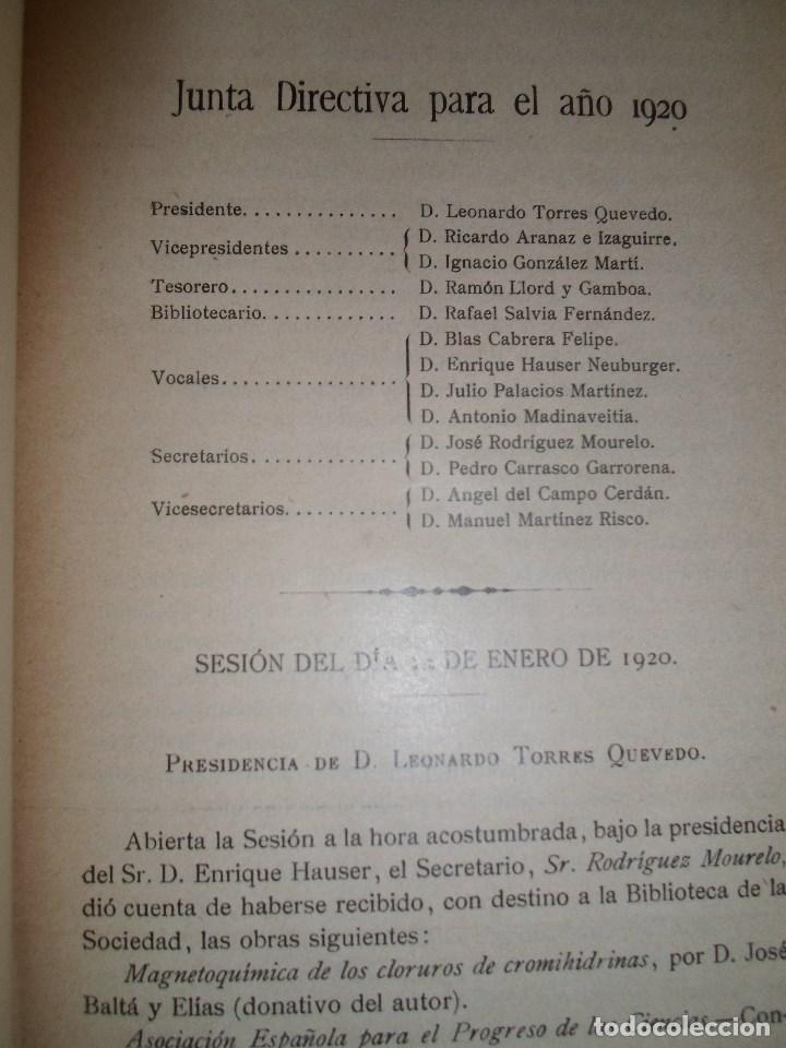 Libros antiguos: ANALES DE LA S.E. DE FISICA Y QUIMICA TOMO XVIII DE 1920- IMPRENTA DE EDUARDO ARIAS- MADRID - Foto 6 - 73549811