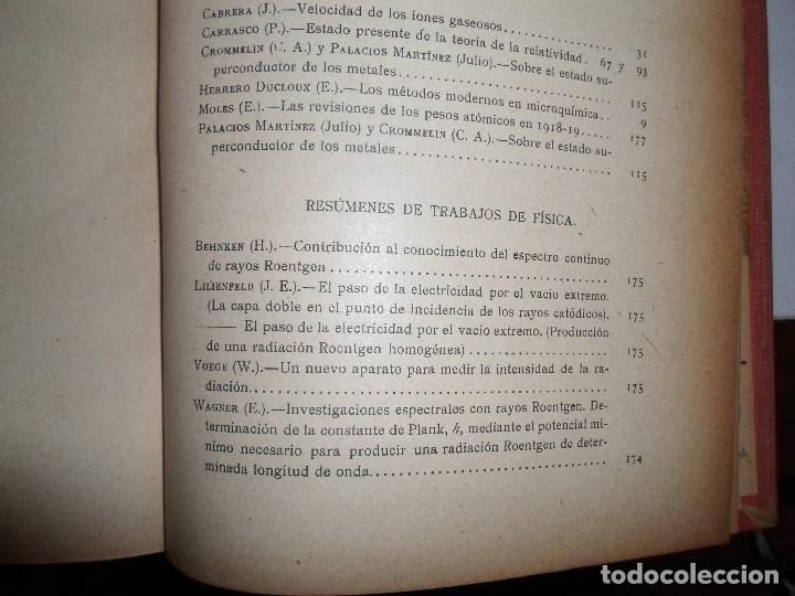 Libros antiguos: ANALES DE LA S.E. DE FISICA Y QUIMICA TOMO XVIII DE 1920- IMPRENTA DE EDUARDO ARIAS- MADRID - Foto 17 - 73549811