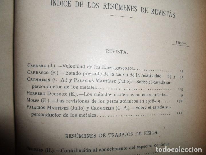 Libros antiguos: ANALES DE LA S.E. DE FISICA Y QUIMICA TOMO XVIII DE 1920- IMPRENTA DE EDUARDO ARIAS- MADRID - Foto 18 - 73549811
