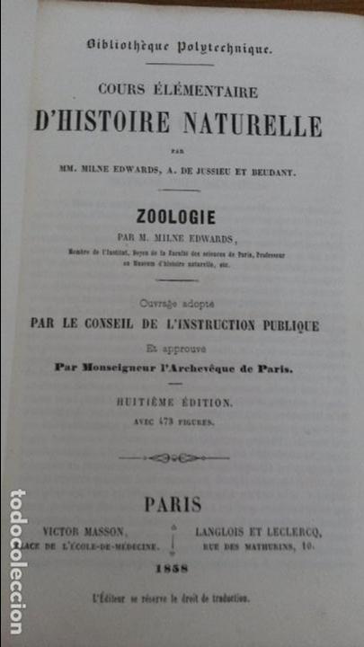 Libros antiguos: ZOOLOGIE. M. MILNE EDWARDS. COURS ELEMENTAIRE D`HISTOIRE NATURELLE. PARIS 1858. EN FRANCES - Foto 2 - 75677607