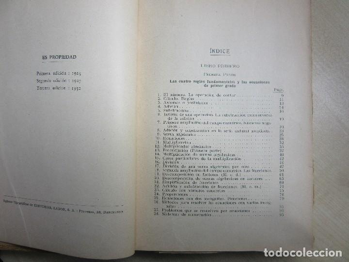 Libros antiguos: Aritmética y Algebra Paul Crantz Editorial Labor 1932 - Foto 3 - 159367230