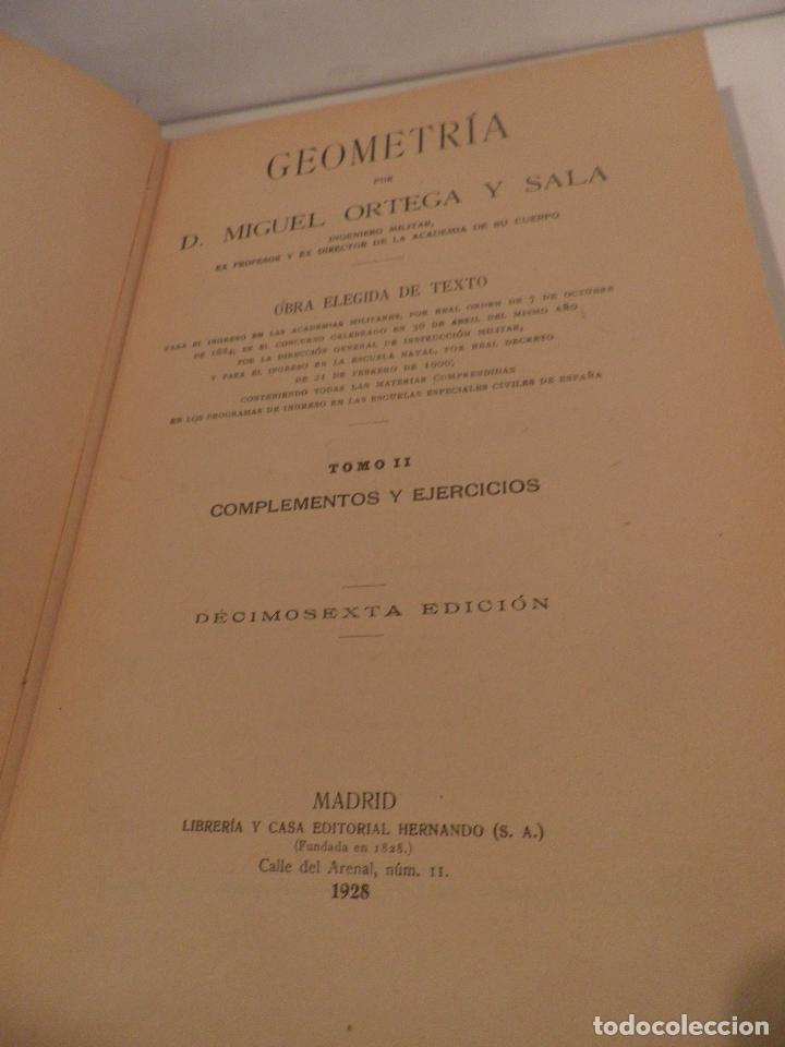 Libros antiguos: GEOMETRIA-ORTEGA Y SALA-TOMO SEGUNDO-RD HERNANDO-1928 - Foto 6 - 82516176