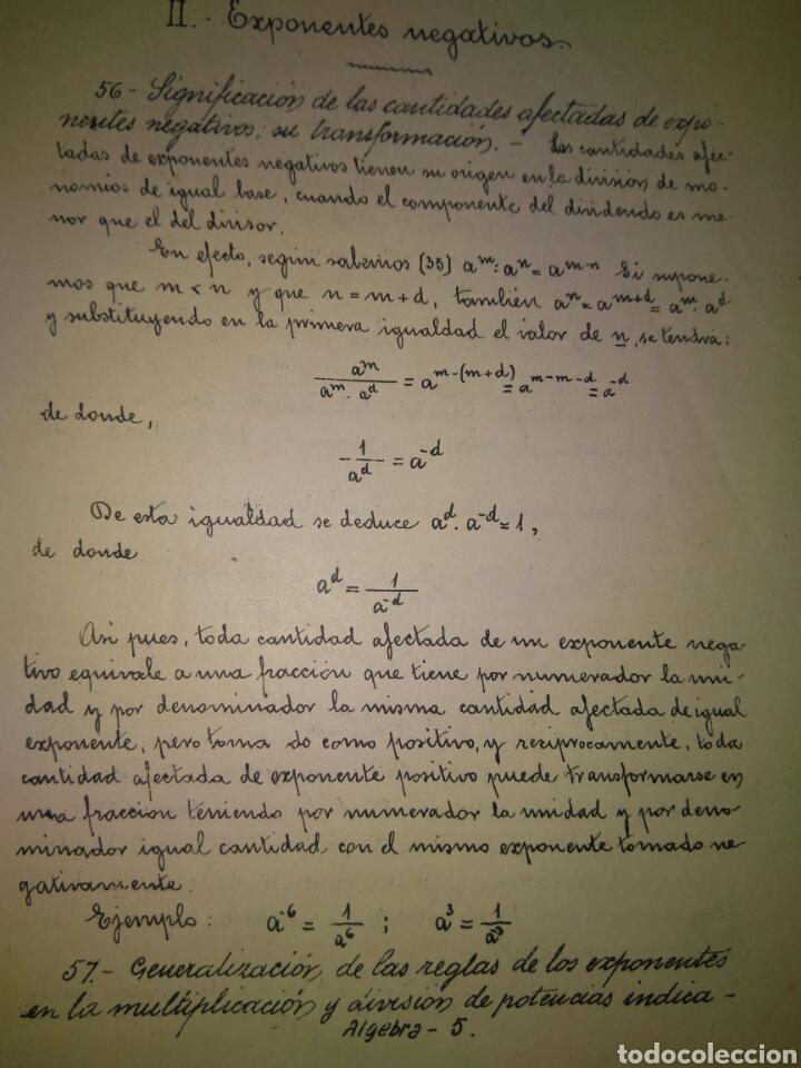 Libros antiguos: APUNTES DE ELEMENTOS DE ALGEBRA- J.BUSQUETS GORINA. FECCHADO 1917. PRIMERA EDICION. LETRA ENLAZADA. - Foto 7 - 84450058
