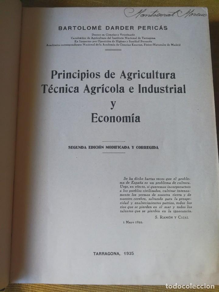 Libros antiguos: PRINCIPIOS DE AGRICULTURA. TÉCNICA AGRÍCOLA E INDUSTRIAL Y ECONÓMICA. BERTOLOME DARDER. 1935 - Foto 3 - 89830668