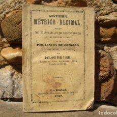 Libros antiguos: J. PUIG Y SAIS: SISTEMA MÉTRICO-DECIMAL, TABLAS DE REDUCCIONES, MEDIDAS Y PESAS. 1868 LA BISBAL. Lote 90520510