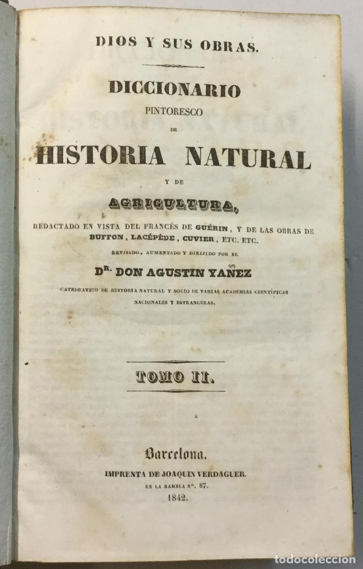 Libros antiguos: YÁÑEZ, AGUSTIN. DICCIONARIO PINTORESCO DE HISTORIA NATURAL Y DE AGRICULTURA. CON NUMEROSAS LÁMINAS. - Foto 3 - 91249040