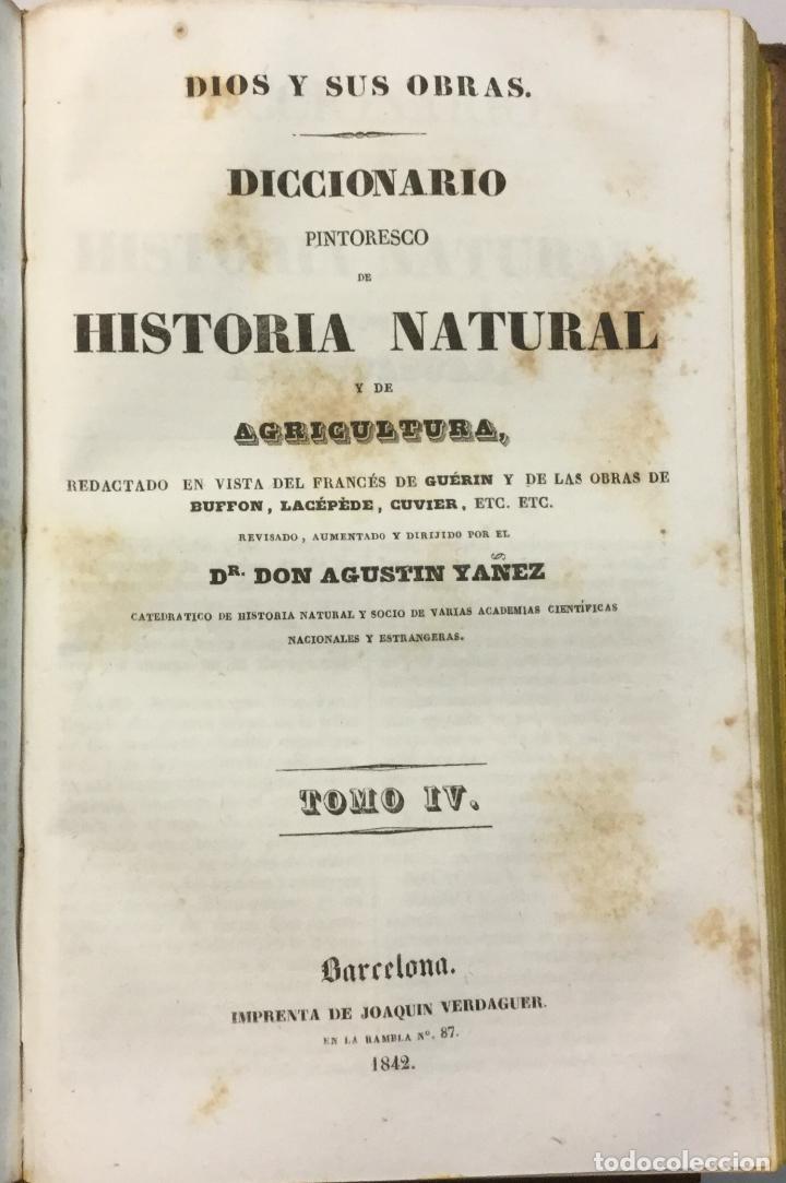 Libros antiguos: YÁÑEZ, AGUSTIN. DICCIONARIO PINTORESCO DE HISTORIA NATURAL Y DE AGRICULTURA. CON NUMEROSAS LÁMINAS. - Foto 5 - 91249040