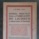 Libros antiguos: MANUAL PRÁCTICO PARA LA FABRICACIÓN DE LICORES Y CARNET PARA EL BARMAN / J. DE MIQUEL / FELIU I SUSA. Lote 92294720