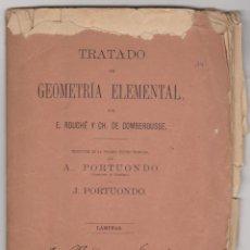 Libros antiguos: TRATADO DE GEOMETRÍA ELEMENTAL. LÁMINAS. E. ROUCHE Y CH. DE COMBEROUSSE. MADRID 1878.. Lote 92692230