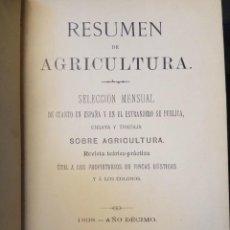 Libros antiguos: RESUMEN DE AGRICULTURA.SELECCION MENSUAL. 1898. Lote 94015260