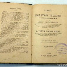 Libros antiguos: TABLAS LOGARITMOS VULGARES NÚMEROS DESDE 1 A 20000 VICENTE VÁZQUEZ QUEIPO IMP GINESTA SIN FECHA. Lote 94027520