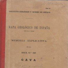 Libros antiguos: MAPA GEOLOGICO DE ESPAÑA : GAVA (1932) CON FOTOGRAFIAS. Lote 94332438