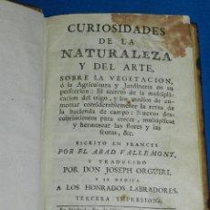 Libros antiguos: (MF) JOSEPH ORGUIRI - CURIOSIDADES DE LA NATURALEZA Y DEL ARTE SOBRE LA VEGETACION 1786. Lote 94673187