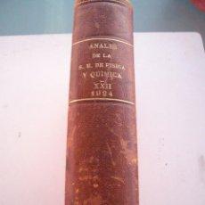 Libros antiguos: ANALES DE SOCIEDAD ESPAÑOLA DE FISICA Y QUIMICA XXII-1924-EN UN TOMO. Lote 96120227
