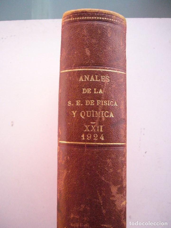 Libros antiguos: ANALES DE SOCIEDAD ESPAÑOLA DE FISICA Y QUIMICA XXII-1924-EN UN TOMO - Foto 3 - 96120227