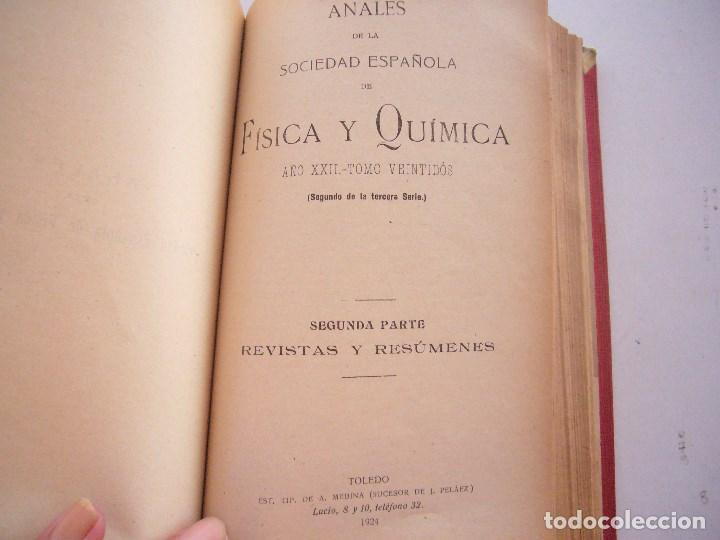 Libros antiguos: ANALES DE SOCIEDAD ESPAÑOLA DE FISICA Y QUIMICA XXII-1924-EN UN TOMO - Foto 8 - 96120227