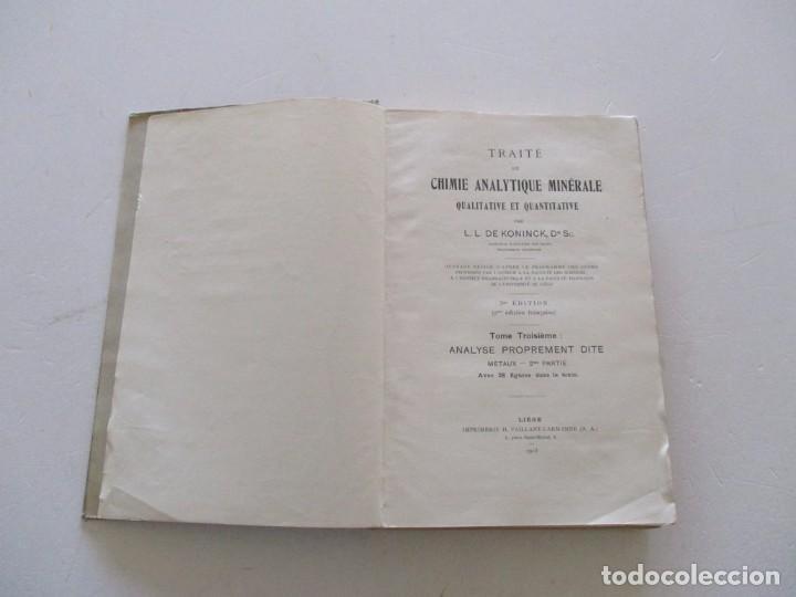 Libros antiguos: Traité de Chimie Analytique Minérale qualitative et quantitative. TRES TOMOS. RM82449. - Foto 6 - 96168703