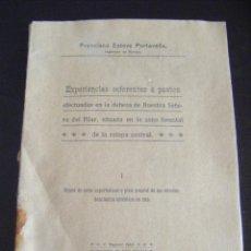 Libros antiguos: JML FRANCISCO ESTEVE PORTAVELLA ACTUACION SOBRE PASTOS EN DEHESA NUESTRA SEÑORA DEL PILAR 1918.. Lote 96300231