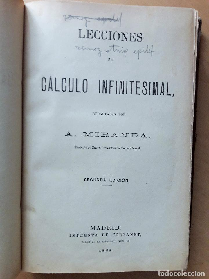 LECCIONES DE CÁLCULO INFINITESIMAL -A. MIRANDA- MADRID 1888 (Libros Antiguos, Raros y Curiosos - Ciencias, Manuales y Oficios - Física, Química y Matemáticas)
