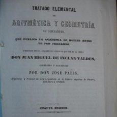 Libros antiguos: TRATADO DE ARITMETICA Y GEOMETRIA DE INCLAN VALDES JOSE PARIS 1860.8ª.140 PG +LAMINAS PLEGADAS. Lote 97362711