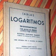 Libros antiguos: TABLA DE LOGARITMOS TRIGONOMÉTRICAS Y DE CÁLCULO DE INTERESES POR EUSEBIO SÁNCHES RAMOS 1965. Lote 97396719